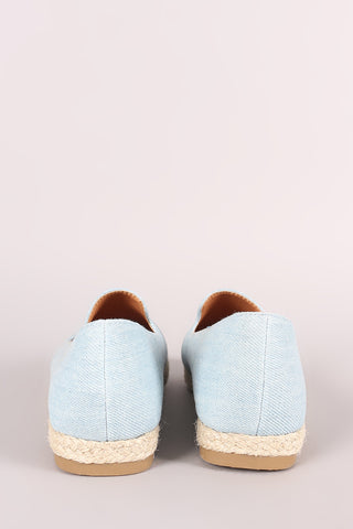 Fun Embroidered Denim Espadrille Slip On Loafer Flat