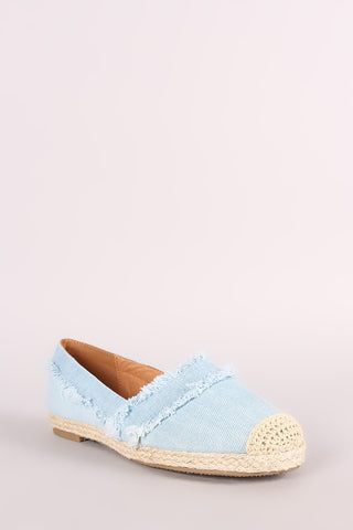 Frayed Denim Espadrille Slip On Loafer Flat