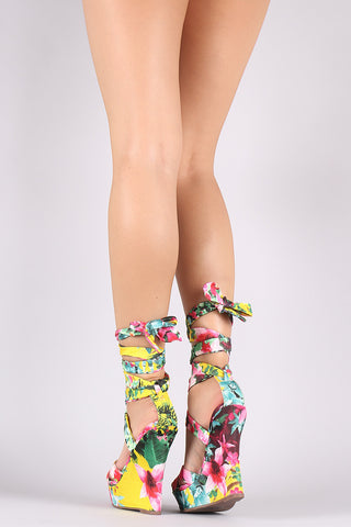 Liliana Floral Crisscross Leg Wrap Platform Wedge