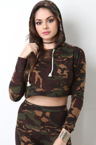 Camouflage Crop Hoodie Sweater