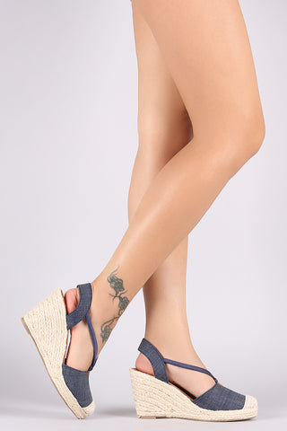 City Classified Denim Round Toe Espadrille Platform Wedge