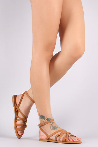 Bamboo Strappy Ankle Strap Flat Sandal