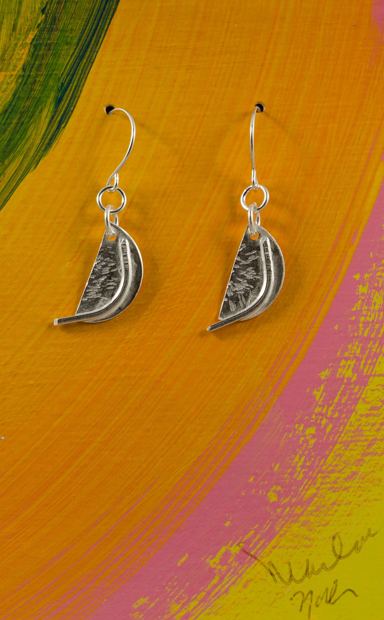 55bfaefbc Handmade Sterling Silver Half Moon Earrings with Curved Wire ...