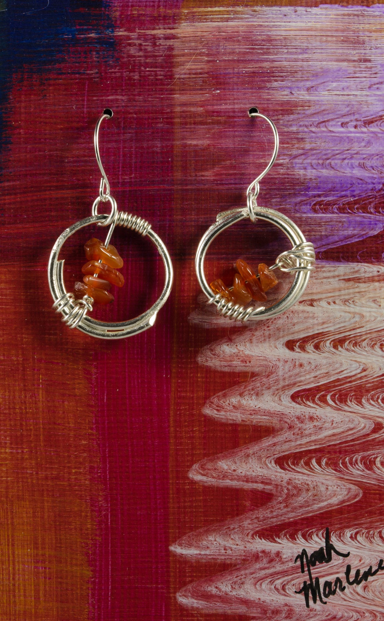 e73786a97 Handmade Sterling Silver Circle Wire Wrapped Earrings with Carnelian -  Silver Spirit Design