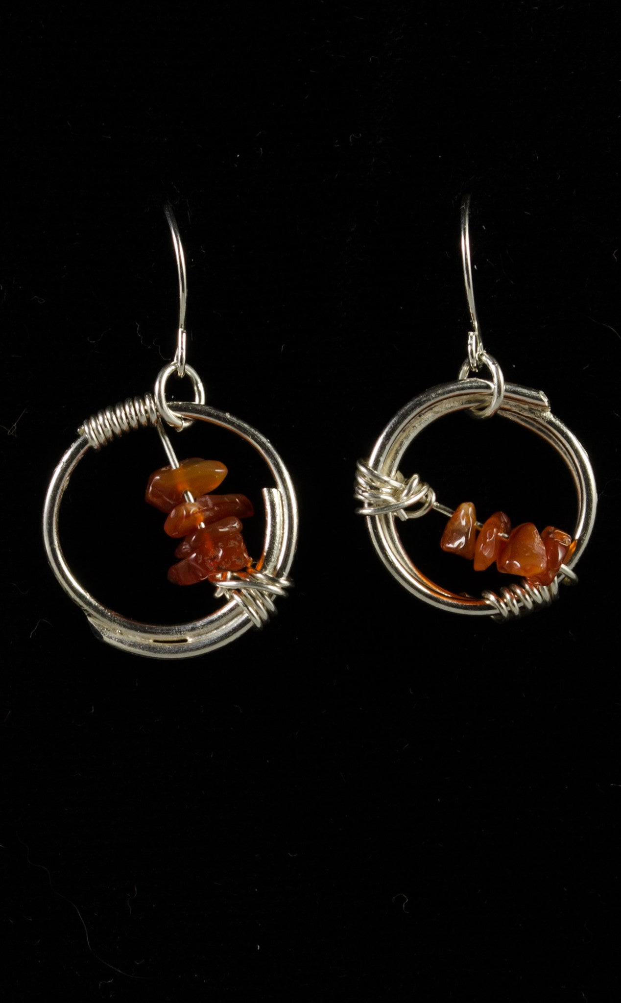 829792905 Handmade Sterling Silver Circle Wire Wrapped Earrings with Carnelian ...