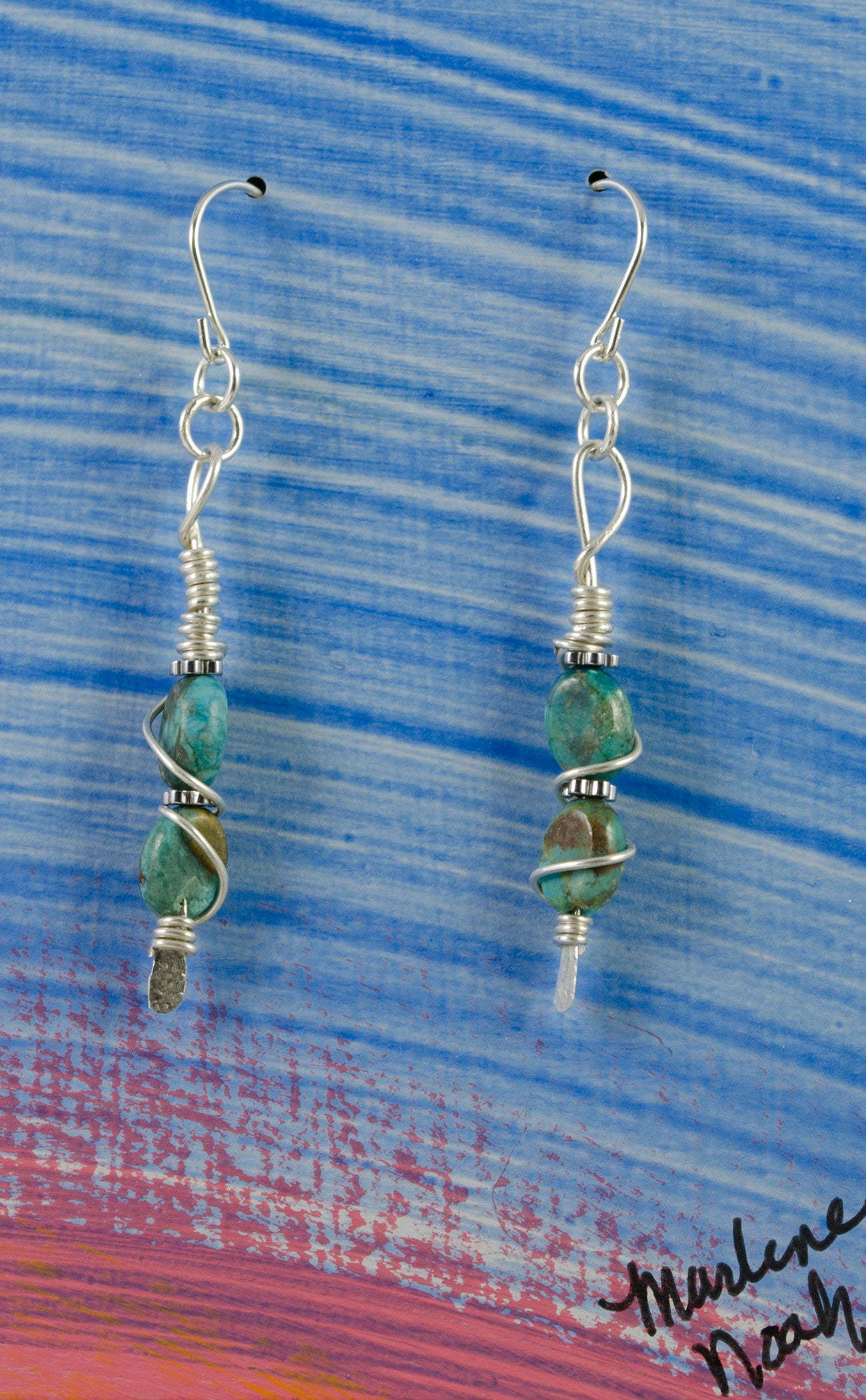 a6f25f5d2 ... Wire Wrapped African Turquoise with Hematite Accent Earrings