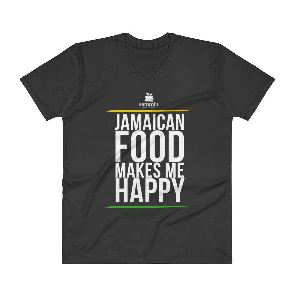 Jamaican Food Makes Me Happy V-Neck T-Shirt