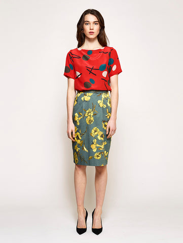 Linen Catherine Skirt - I Can Toucan print