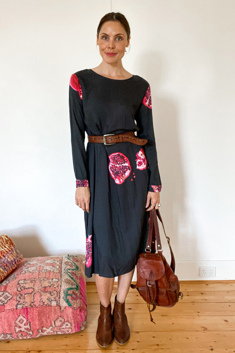 DEVOI LONG SLEEVED SHIFT DRESS, BLACK DRESS, TENCEL DRESS, SUSTAINABLE ETHICAL CLOTHING, POMEGRANATE PRINT, HAND PAINTED PRINT, ECO FRIENDLY DYES, BLACK WOMENSWEAR