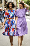 DOROTHY LINEN DRESS PRINTED BRIGHT COLOURS BLUE DRESS RED DRESS PURPLE DRESS
