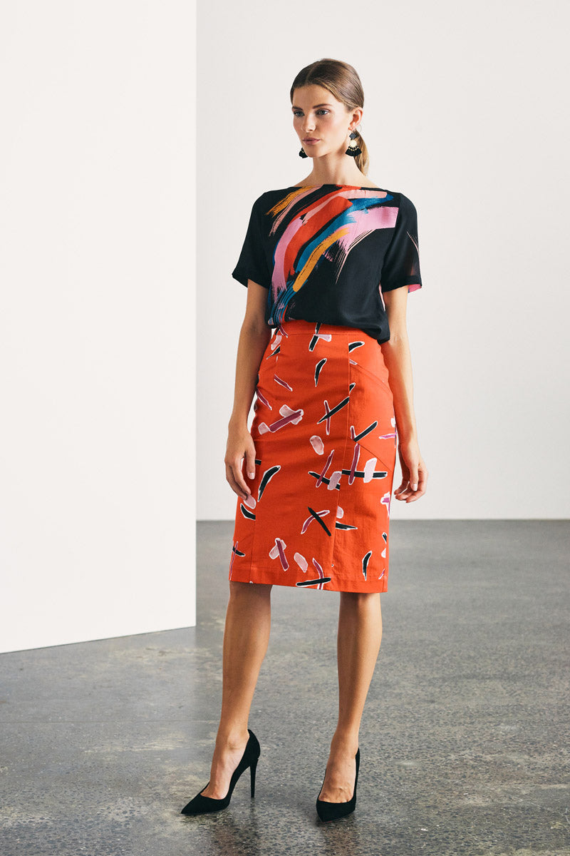 RED PRINTED STRETCH COTTON SKIRT