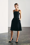 BLACK DEVOI DRESS, STRETCH COTTON WITH POCKETS AND SQUARE NECKLINE