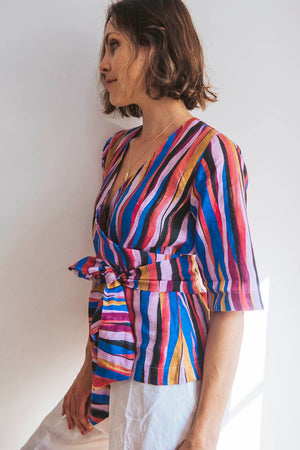 Linen printed summer top, bright coloured print, with separate tie belt, half sleeves