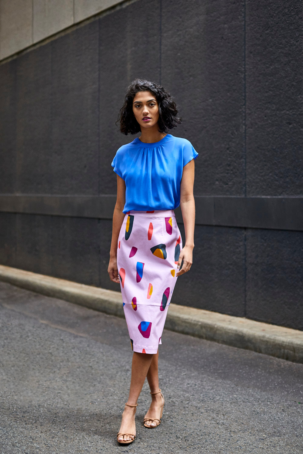 STRETCH COTTON PRINTED SKIRT MIDI LENGTH UNIQUE STYLE FUN BRIGHT FRONT