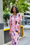 DEVOI BLOUSE, PINK PRINTED TOP BLOUSE WITH BUTTONS FROM MELBOURNE SHOP LOCAL