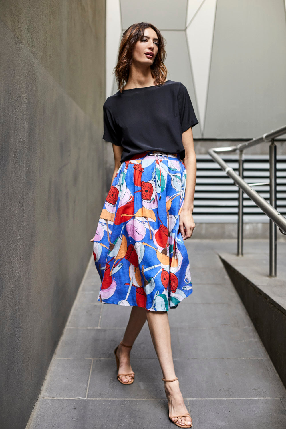 DEVOI linen printed skirt with pockets. Skirt with elasticated waist.
