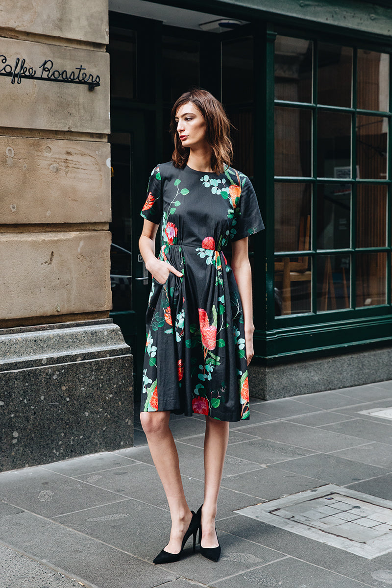 DEVOI DOROTHY DRESS, TENCEL, SUSTAINABLE FABRIC, HAND PAINTED PRINT, PRINTED DRESS, BLACK DRESS, SHIFT DRESS, MELBOURNE FASHION