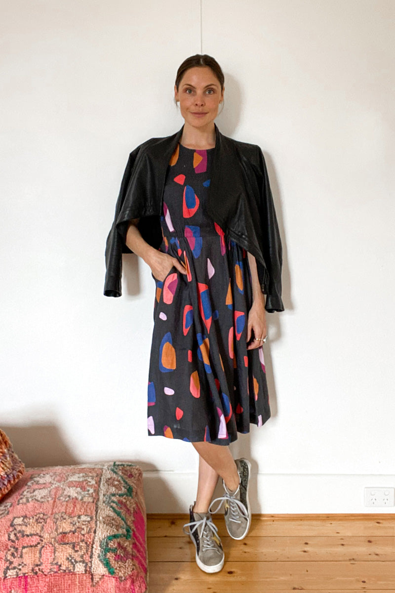 DEVOI DOROTHY DRESS, 100% LINEN PRINTED DRESS, SUSTAINABLE FABRIC, MELBOURNE BRAND, FEMAL OWNED BRAND, HAND PAINTED PRINTED DRESS, BLACK DRESS