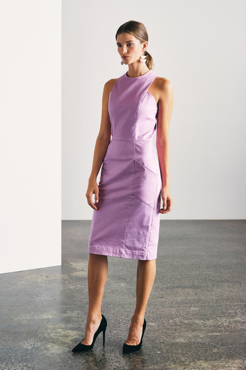 Maddison Dress - Lilac Denim