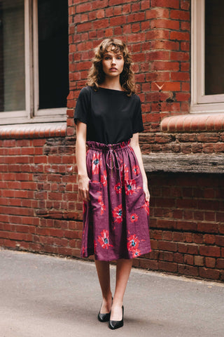 Vita Skirt - Maroon Bloom print