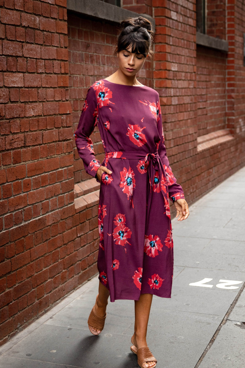Sibylle Dress - Maroon Bloom