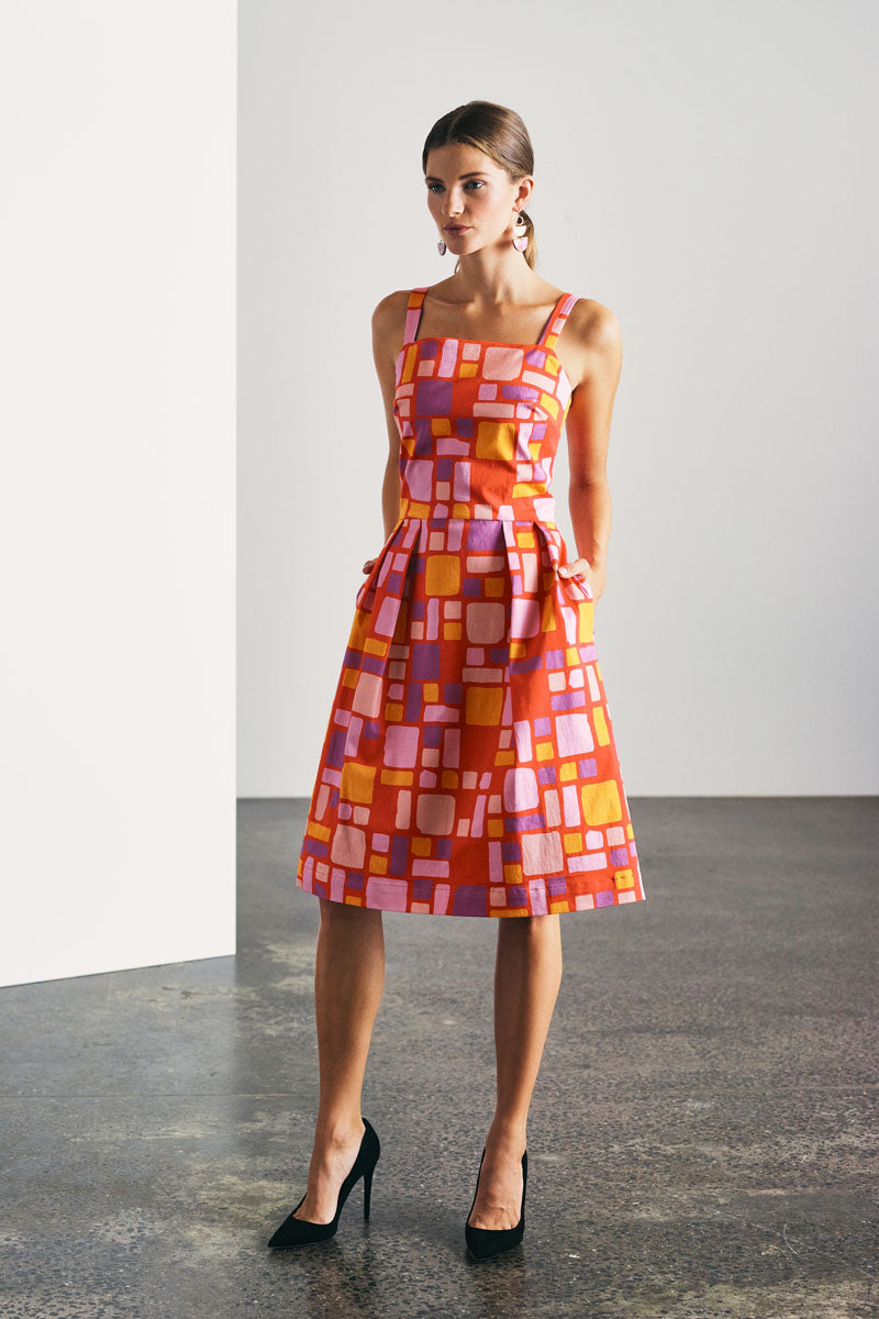 DEVOI PRINTED LINEN DRESS WITH POCKET AND SQUARE NECKLINE