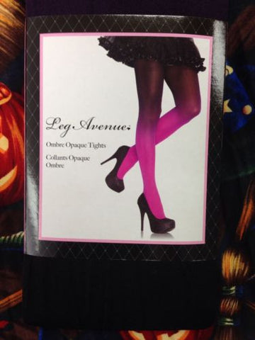 Leg Avenue Ombre Opaque Tights - Black / Fuchsia - Up To Size 14