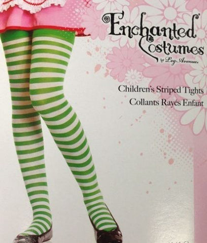 Child Tights / Stockings Stripe Green & White Girl Stripped Tights