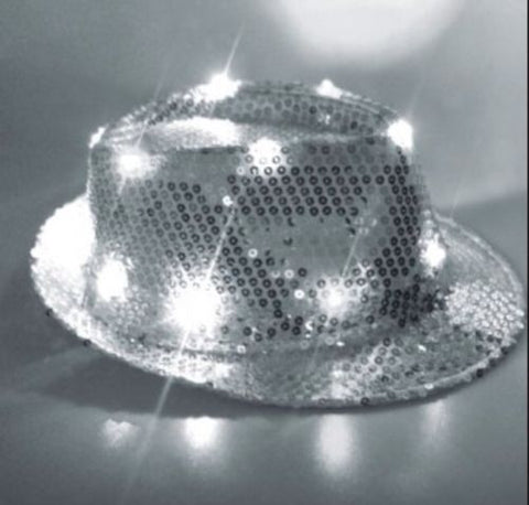 Hat / LED Sequin Light Up Silver Fedora Costume Hat