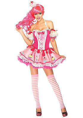 Sexy Adult Babycake Candy Sugar Girl Princess Costume w Cupcake Headband