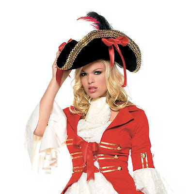 Sexy Pirate Costume Hat w/ Gold Trim Leg Avenue Costume Hat Style 2099