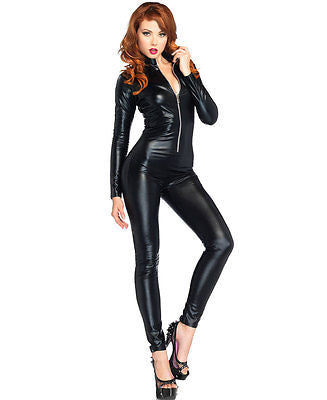 Sexy Black Lame Zipper Wet Look Front Catsuit Women's Costume