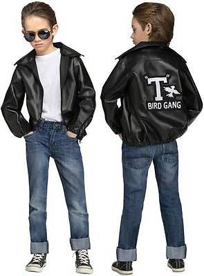 T-Bird Gang Jacket Kids Costume - Faux Lether Jacket with T Bird Logo