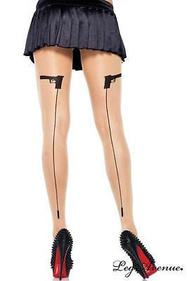 Leg Avenue Spandex Sheer Woven gangster Backseam Pantyhose - Stockings One Size