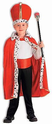 Kids King Costume Set Boys Girls Kings Outfit Robe Hat Crown Plush Child NEW