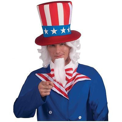 Wig Patriotic Uncle Sam Wig & Beard Costume Accessory 4th of July Independence Day Agult Wig Set