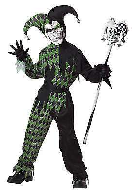 Jokes on You Child Costume Evil Clown Jester - Clown Costume / Green - White