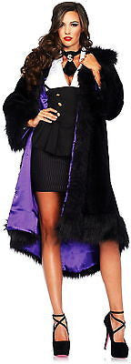 NEW Satin Lined Faux Fur Coat with Shawl Adult Fancy Gangster Party Costume