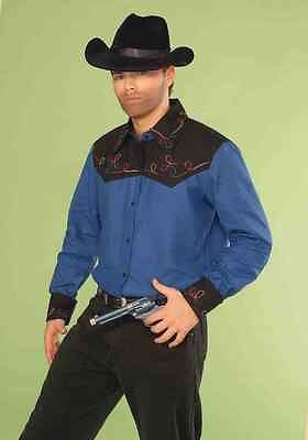Cowboy Shirt Rodeo Western Blue Fancy Dress Halloween Adult Costume Accessory
