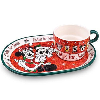 Disney Mickey and Minnie Mouse Cookies For Santa Plate and Cup Mug Set NEW