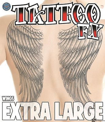 Tinsley Transfers  Angel Wings Temporary Tattoo FX Kit Black  Extra Large