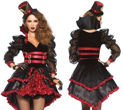 Women's Sexy Steampunk Victorian Vamp Dress Outfit Fancy Costume MD