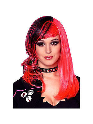 Wig 80's Punk Rock Hot Pink / Black Wig