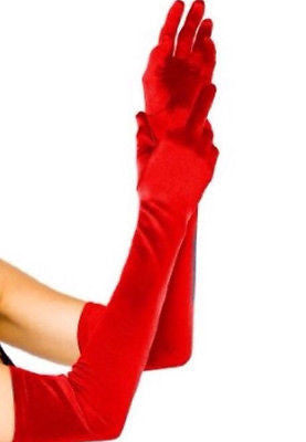 Gloves Costume Accessory Extra Long Red Satin Evening Prom Opera Gloves