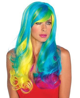 Wig Leg Ave Long Wavy Rainbow Prism Rave Costume Wig