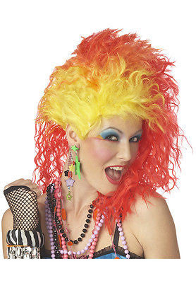 Wig 80's  Red / Yellow Cyndi Lauper True Colors Costume Adult Wig