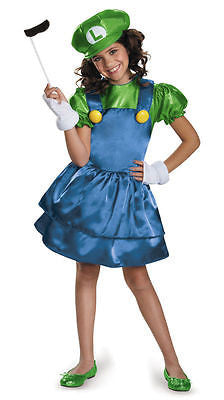 Luigi Girls Skirt Version CHILD Costume NEW Super Mario Bros. - MD 7-8