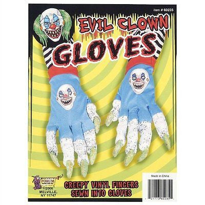 Evil Killer Clown Creepy Gloves Scary Long Finger Nails