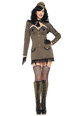 Sexy Pin Up Army Poster Girl Dress n Hat Outfit Adult Women's Halloween Costume