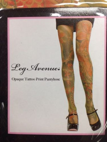 Opaque Tattoo Print Pantyhose - Tattoo Pantyhose - Up to 14